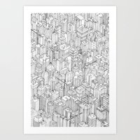 city Art Prints featuring Isometric Urbanism pt.1 by Herds of Birds