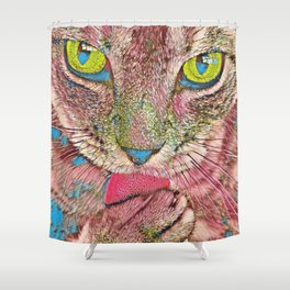 Cute Cat Cleaning Funky Artwork Shower Curtain