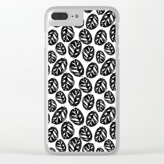 Monstera obliqua linocut black and white minimal house plants cute zen vibes yoga art Clear iPhone Case