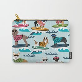 Surfing Dogs - cute summer tropical dogs surfing Carry-All Pouch