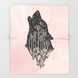 Adventure Wolf - Nature Mountains Wolves Howling Design Black on Pale Pink Throw Blanket
