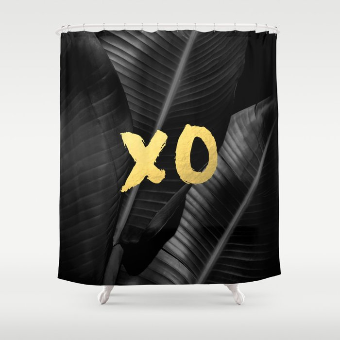 XO gold - bw banana leaf Shower Curtain by galeswitzer | Society6