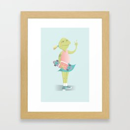 Just a Skater Frog Framed Art Print