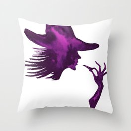 DIVA WITH HAT and Lipstick - PAINTED - Gorgeous VIOLET Throw Pillow