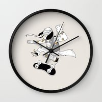snoopy Wall Clocks featuring DWYD, Pups by Polite Yet Peculiar