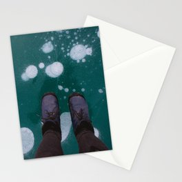 Frozen bubbles in a blue lake Stationery Cards