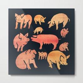Fancy Rosegold Piggies Metal Print