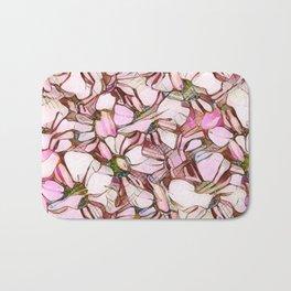 pink abstract daisies Bath Mat