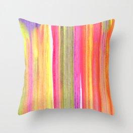 Neon Rainbow Paint Streaks Throw Pillow