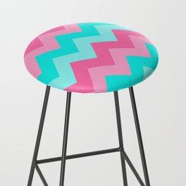 Hot Pink Turquoise Aqua Blue Chevron Zigzag Pattern Print Bar Stool