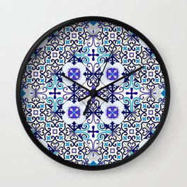 Turquoise Moroccan tile seamless pattern Wall Clock