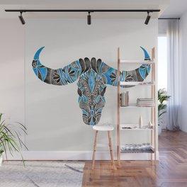 Water Buffalo Skull – Black & Blue Wall Mural