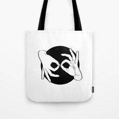 Sign Language (ASL) Interpreter – White on Black 00 Tote Bag