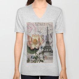 french scripts lotus floral vintage paris eiffel tower Unisex V-Neck