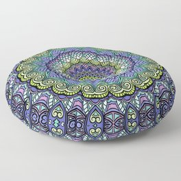 Purple n' Green Machine - Mandala Art Floor Pillow