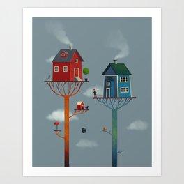 Tree Houses Art Print