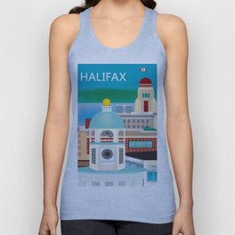 Halifax, Nova Scotia, Canada - Skyline Illustration by Loose Petals Unisex Tank Top