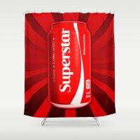 coke Shower Curtains featuring Coca Cola - Coke - Superstar - Pop Art  by William Cuccio aka WCSmack