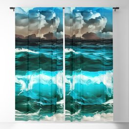 stormy sea waves reacstd Blackout Curtain