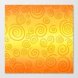 Yellow and Orange Blurred Stripes With Swirls Canvas Print