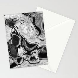 Black and White Digital Fluid Art Swirls and Cells Stationery Cards