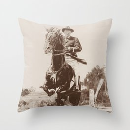 Teddy Roosevelt Jumping Fence On Horseback Throw Pillow