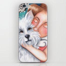 Sweet Coconut Original Art Schnauzer and girl Portrait iPhone Skin