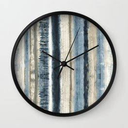 Distressed Blue and White Watercolor Stripe Wall Clock