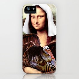 Mona Lisa Thanksgiving Pilgrim iPhone Case