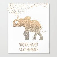 work hard Canvas Prints featuring WORK HARD by BUT FIRST COFFEE