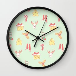 Pastel Bright Christmas Wall Clock
