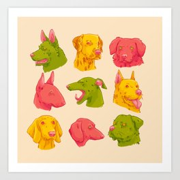 Color block dogs Art Print