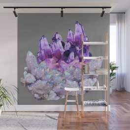 SPARKLY WHITE QUARTZ & PURPLE AMETHYST CRYSTAL Wall Mural