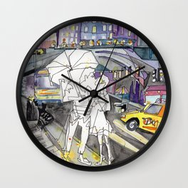 Kissing in New York Wall Clock