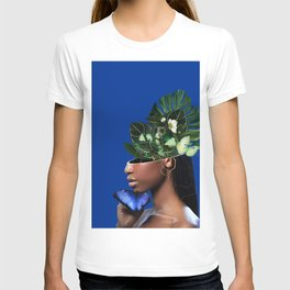 Lady Flowers and The Blue Butterfly T-shirt