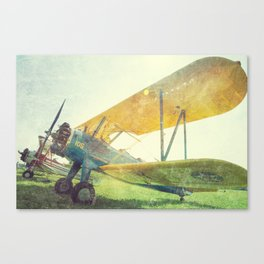 Preflight Biplane // Antique Airplanes Canvas Print