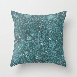 Floral Weave Teal Throw Pillow