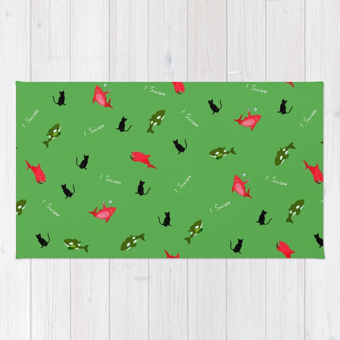 Green Orca and Red Shark and Black Cats Rug
