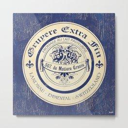Vintage Cheese Label Blue Metal Print