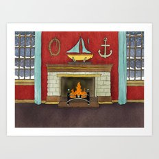 Happy Holidays - Fireplace Art Print