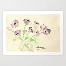 A Jar of Violets  Art Print