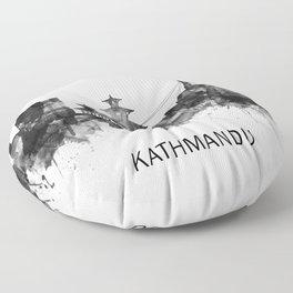 Kathmandu Nepal Skyline BW Floor Pillow