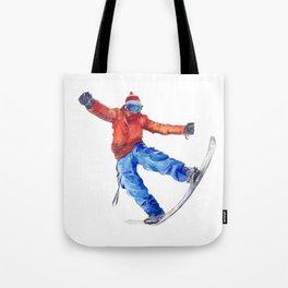 Watercolor snowboarder winter Tote Bag