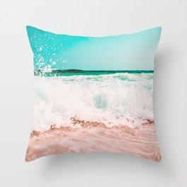 Ocean Waves Teal Pink Throw Pillow