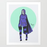 teen titans Art Prints featuring Raven Teen Titans Redesign by Taylor-Payton