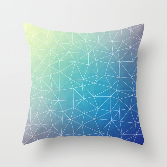 Blue Geometric Throw Pillows : Abstract Blue Geometric Triangulated Design Throw Pillow by Oursunnycdays Society6