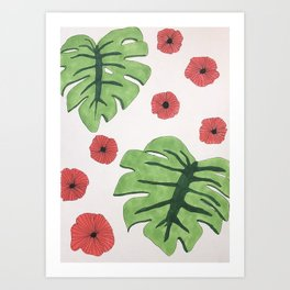 Poppies and monstera leaves Art Print