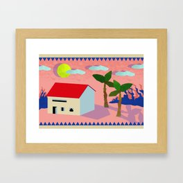 Digital Landscape with House and Trees Framed Art Print
