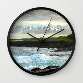 """The journey is the destination"" Hawaii black sand beach photo Wall Clock"