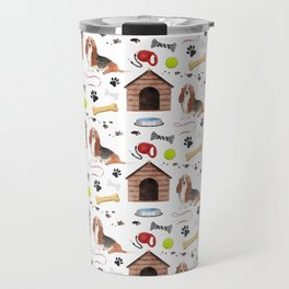 Basset Hound Dog Half Drop Repeat Pattern Travel Mug